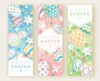 Drie verticale banners van Pasen met realistische verfraaide eieren, linten, sterren en ballen Illustratie in zachte kleuren vector illustratie