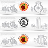 Drie vierkante banners van appelsap of drankproduct Royalty-vrije Stock Foto's