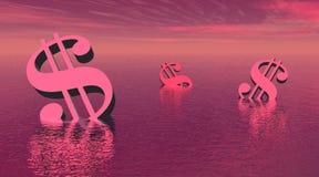 Drie violette dollars die in het overzees verdrinken royalty-vrije illustratie