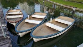 Drie vissersboot Thailand Boot drie in rivier Stock Fotografie