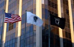 Drie Vlaggen Verenigde Staten Massachusetts POW MIA Royalty-vrije Stock Foto