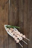 Drie vleespennen met gekookte garnalen Royalty-vrije Stock Foto