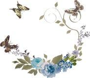 Drie vlinders en bloemen vector illustratie