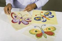 Drie vlindervierkanten Royalty-vrije Stock Foto's