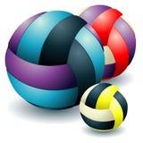 Drie voleyballs stock illustratie