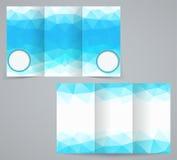 Drie vouwen bedrijfsbrochuremalplaatje met driehoeken, collectieve vlieger of dekkingsontwerp Stock Fotografie
