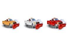 Drie vrachtwagensneeuwploeg Stock Fotografie