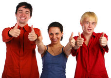 Drie vrienden geeft gebaar Stock Afbeelding