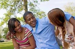 Drie vrienden in het park Stock Foto