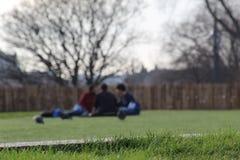Drie vrienden in het park royalty-vrije stock afbeelding