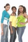 Drie vrienden in jeans royalty-vrije stock foto's