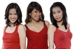 Drie Vrienden in Rood stock afbeeldingen