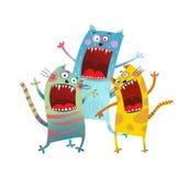 Drie Vriendenkatten die karaokelied zingen royalty-vrije illustratie