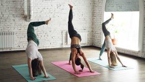 Drie vrij jonge vrouwen doen complex van het uitrekken zich yogaasanas in licht wellnesscentrum van de zolderstijl De instructeur stock videobeelden