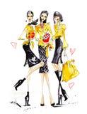 Drie vrouwelijke vrienden royalty-vrije illustratie