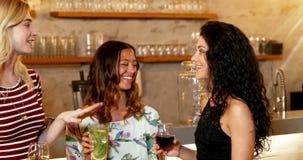 Drie vrouwelijke vrienden die met elkaar spreken terwijl het hebben van drank 4K 4k stock videobeelden