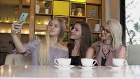 Drie vrouwelijke vrienden die selfie terwijl koffiepauze maken stock footage