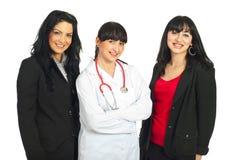Drie vrouwen met verschillende carrières Stock Foto's