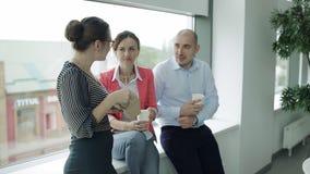 Drie werknemers van het bedrijf op een middagpauze De collega's kwamen aan te eten bizneslanch stock videobeelden