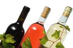 Drie wijnflessen Royalty-vrije Stock Afbeelding