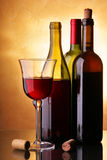 Drie wijnflessen Royalty-vrije Stock Foto's
