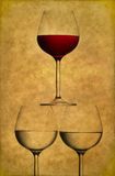Drie wijnglazen Royalty-vrije Stock Afbeeldingen