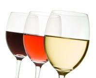 Drie wijnglazen Stock Afbeeldingen