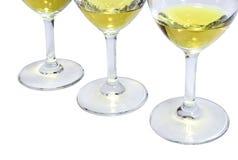 Drie wijnglazen droge wijn Royalty-vrije Stock Afbeeldingen