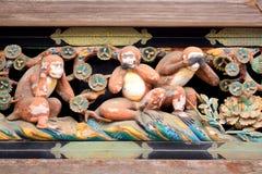 Drie wijze apen, Nikko, Japan Stock Afbeelding