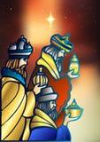 Drie Wijzen bezoeken Jesus Christ na Zijn geboorte vector illustratie