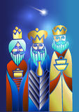 Drie Wijzen bezoeken Jesus Christ na Zijn geboorte royalty-vrije illustratie