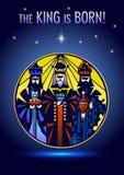 Drie Wijzen bezoeken Jesus Christ na Zijn geboorte Stock Afbeelding