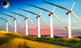 Drie windturbines Stock Foto