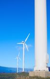 Drie windturbines, blauwe hemel. stock foto's