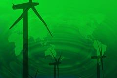 Drie windturbines op groene planeetachtergrond Royalty-vrije Stock Afbeelding