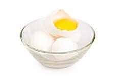 Drie witte eieren Stock Foto's