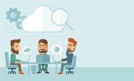 Drie zakenlieden die samenwerken vector illustratie