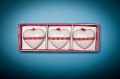 Drie zeer aardige decoratieve harten Stock Fotografie