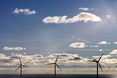 Drie zeewindturbines Royalty-vrije Stock Fotografie