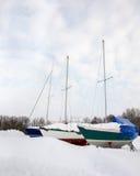 Drie Zeilboten in de Winter royalty-vrije stock fotografie