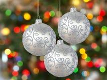 Drie zilveren ballen Royalty-vrije Stock Afbeeldingen