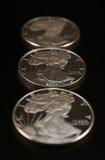 Drie Zilveren Dollars Royalty-vrije Stock Foto's