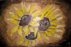 Drie zonnebloemen Met de hand gemaakt tekening, acryl/hout Stock Fotografie