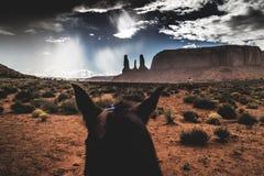 Drie zusters, het Stammenpark van Navajo van de Monumentenvallei, dramatische hemel, regenachtige dag stock afbeeldingen