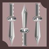 Drie zwaarden op een purpere achtergrond met kader vector illustratie