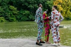 Drie zwarte mannelijke modellen royalty-vrije stock foto