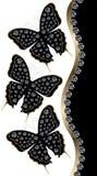 Drie Zwarte Vlinders met Diamanten Horizontale Grens royalty-vrije stock foto's