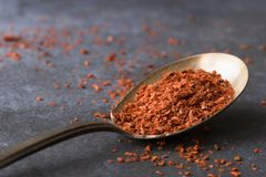 Dried Aleppo Peppers on a spoon royalty free stock images