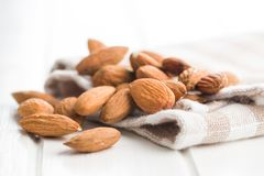 Dried almond nuts royalty free stock photos