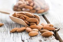 Dried almond nuts stock photos